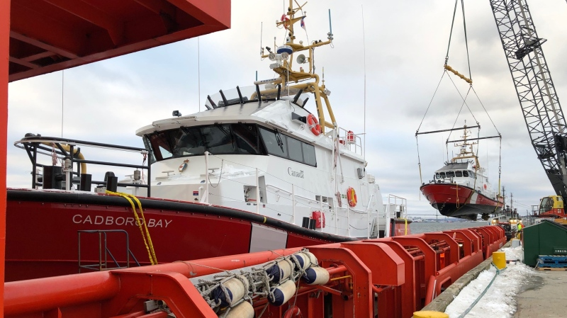 The two new Canadian Coast Guard search and rescue vessels, the CCGS Cadboro Bay and CCGS Florencia Bay, are shown: (Fisheries and Oceans Canada)