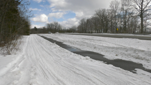 A section of the illegally plowed trail along the 1000 Islands Parkway near Ivy Lea, Ont. (Nate Vandermeer/CTV News Ottawa)
