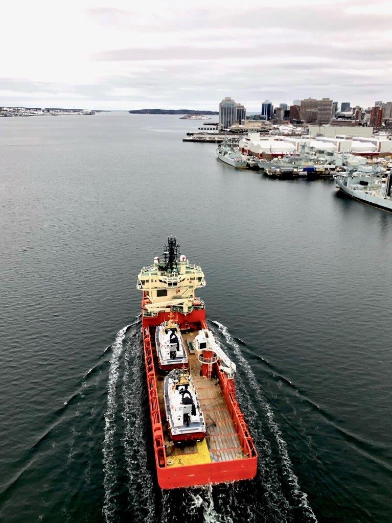 The CCGS Cadboro Bay and CCGS Florencia Bay are pictured departing from Dartmouth, Nova Scotia, on February 18, 2021: (Fisheries and Oceans Canada )