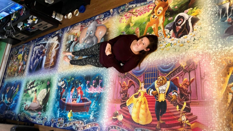 Maxine Olive spent nine days putting together the Ravensburger Memorial Disney Moments Puzzle.  (Photo courtesy: Maxine Olive)