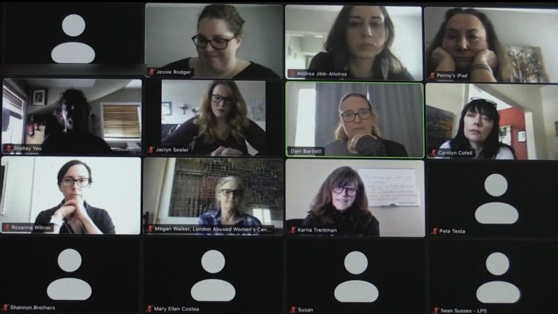 Representatives of women's agencies in the London region meet virtually on Friday, Feb. 26, 2021.