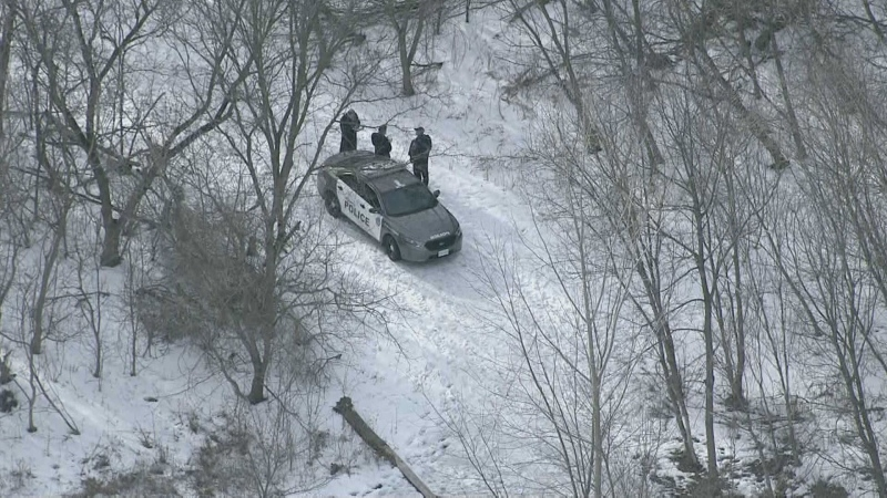 Police are looking into the circumstances surrounding the death of a woman at an Etobicoke park on Feb. 26, 2021. (Chopper 24)