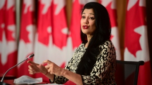 Dr. Supriya Sharma, chief medical adviser at Health Canada, holds a press conference in Ottawa on Friday, Feb. 26, 2021, to provide an update on the COVID-19 pandemic and vaccine rollout in Canada. THE CANADIAN PRESS/Sean Kilpatrick