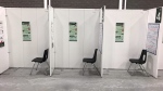 COVID-19 vaccination booths at the Hanover Honda Arena in Hanover, Ont. on Fri. Feb. 26, 2021 (Rob Cooper/CTV News)