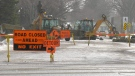 A water main break on Morris Drive is pictured on Feb. 26, 2021. (Tyler Barrow/CTV Saskatoon)