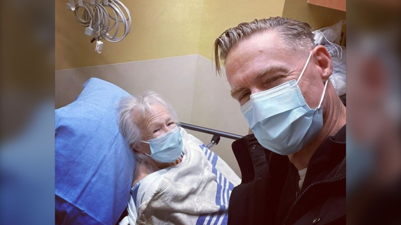 Bryan Adams poses with his mother in an image posted to Instagram Feb. 25, 2021.