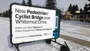 City billboard for the 142 Street pedestrian/cyclist bridge.