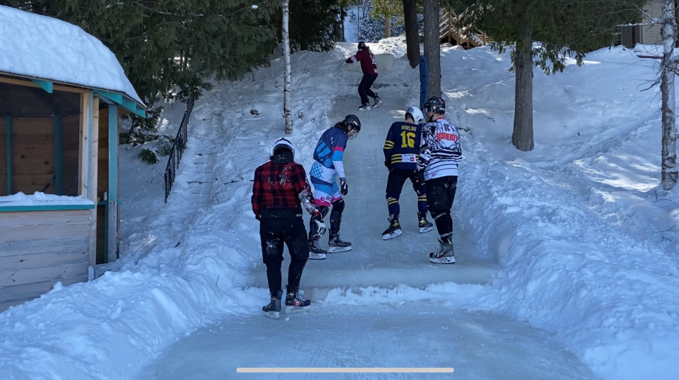 Ice Cross Downhill athletes practice on a home-wade track in La Peche, Que. (Jeremie Charron/CTV News Ottawa)