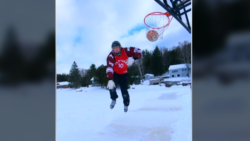 Ottawa's Robin Worling has gone viral after his basketball dunk while skating on an ice cross downhill course in La Peche, Que. (Photo courtesy: Instagram/robworling14)