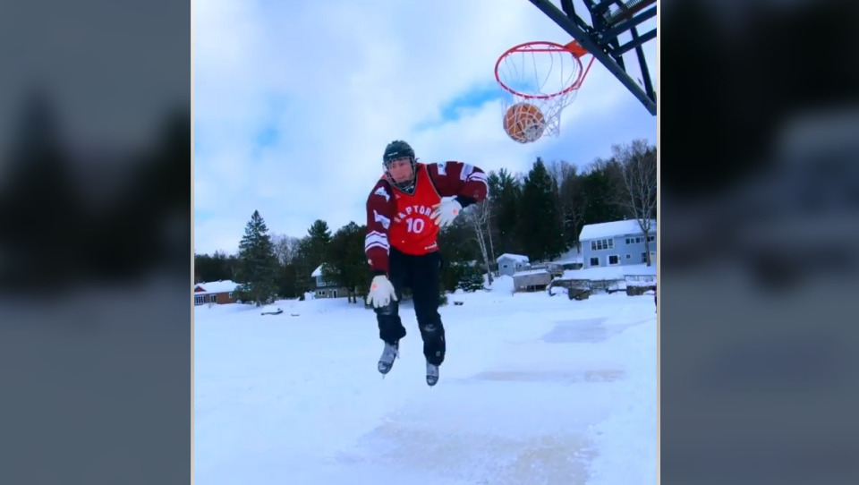 Basketball dunk on Skates