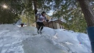 Homemade ice cross downhill track