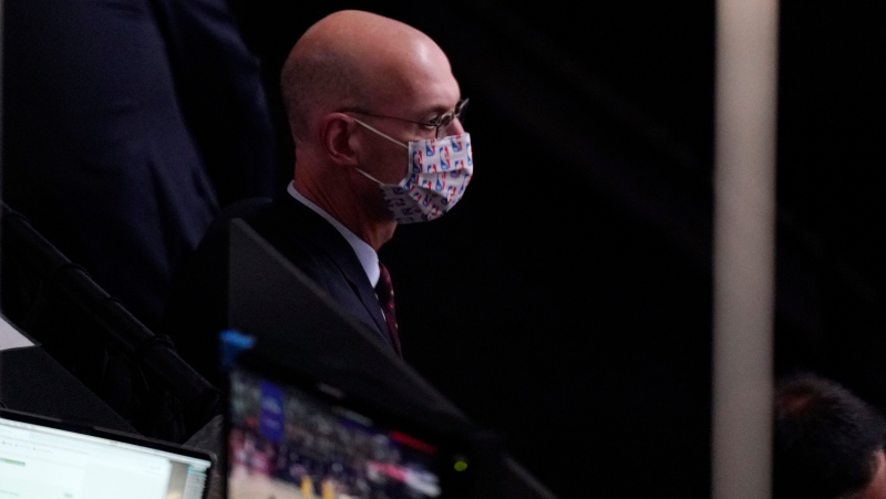 NBA Commissioner Adam Silver watches play as he attends the second half of Game 1 of basketball's NBA Finals Wednesday, Sept. 30, 2020, in Lake Buena Vista, Fla. (AP Photo/Mark J. Terrill)