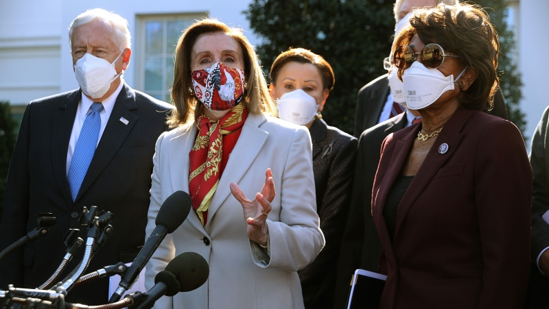Speaker of the House Nancy Pelosi (2nd from the left) talks to reporters outside the West Wing after she and House Democratic leaders met with U.S. President Joe Biden to discuss coronavirus relief legislation at the White House February 5 in Washington, D.C. (Chip Somodevilla/Getty Images/CNN)