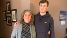 Tyler Canniff and his mother Christine in Chatham, Ont. on Friday, Feb. 26, 2021. (Chris Campbell/CTV Windsor)