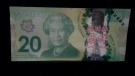An image of a counterfeit $20 bill. (Source: Norfolk County OPP) (Feb. 27, 2021)