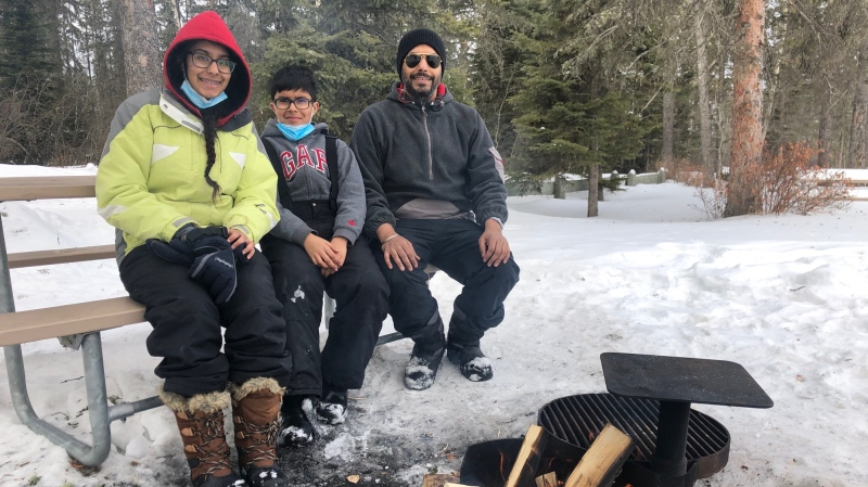 The Aulakh family from Saskatoon camping at Prince Albert National Park (Lisa Risom/CTV News)