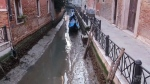 Low tide leaves canals empty in Venice