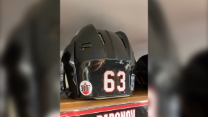 "Ottawa Senators players skating Saturday against the Calgary Flames will have this ""BF"" decal on their helmets in memory of Newstalk 580 CFRA technical producer Brian Fraser, who died Thursday of leukemia. Fraser was a tireless advocate for blood donations and a lifelong Senators fan. (Image courtesy of the Ottawa Senators)"