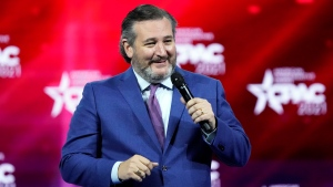 U.S. Sen Ted Cruz (R-Texas) speaks to a cheering crowd at CPAC at the Hyatt Regency in Orlando, FL, USA on Friday, February 26, 2021. Photo by Stephen M. Dowell/Orlando Sentinel/TNS/ABACAPRESS.COM
