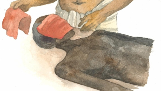 The papyrus contains new evidence of the procedure for embalming the deceased's face, where the face is covered with a piece of red linen and aromatic substances. (Ida Christensen, University of Copenhagen)