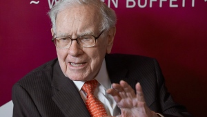Warren Buffett, Chairman and CEO of Berkshire Hathaway, speaks during a game of bridge following the annual Berkshire Hathaway shareholders meeting in Omaha, Neb., Sunday, May 5, 2019. A new report is holding up legendary investor Buffett's decision to walk away from a proposed liquefied natural gas project in Quebec in March as one sign that the LNG sector in Canada and elsewhere is on shaky ground. THE CANADIAN PRESS/AP/Nati Harnik