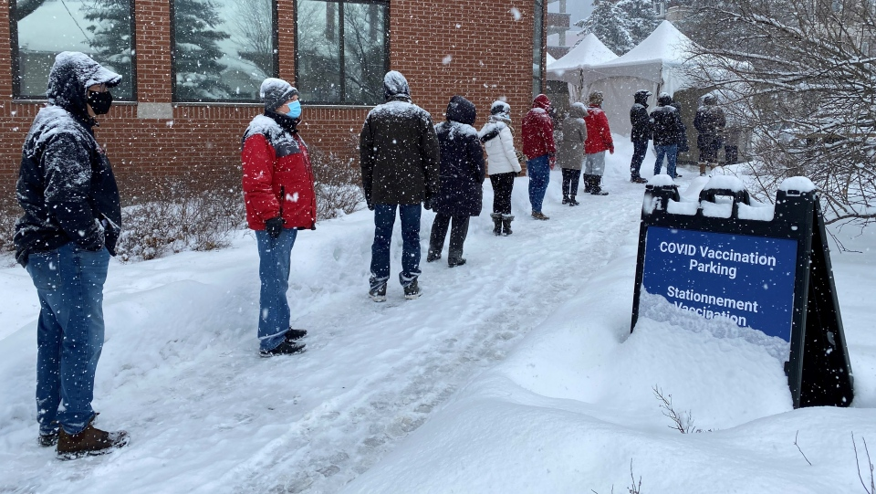 Line for vaccine Ottawa Feb 27