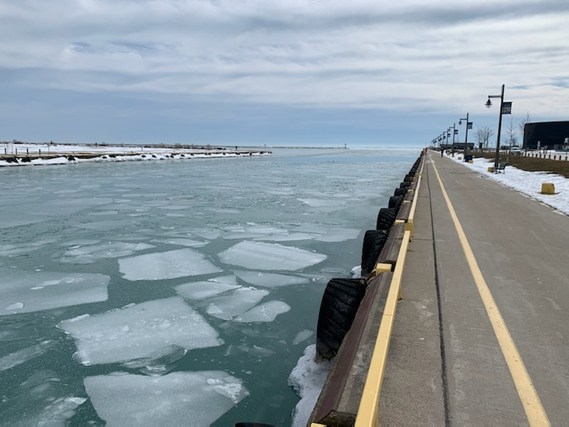 Ice beginning to break in Port Stanley, Ont. harbour  on Friday, Feb 26 (Source: Municipality of Central Elgin)