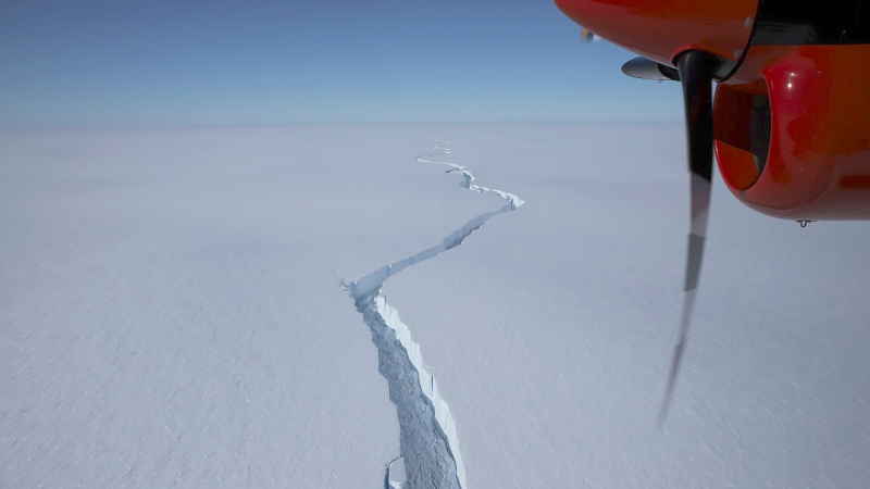 A aerial view taken in Jan. 2021 and issued on Friday Jan. 26, 2021 by the British Antarctic Survey showing a massive crack in the Brunt Ice Shelf in Antarctica. A huge iceberg the size of the English county of Bedfordshire has broken off the 150-m thick Brunt Ice Shelf, almost a decade after scientists at British Antarctic Survey (BAS) first detected growth of vast cracks in the ice.(British Antarctic Survey via AP)
