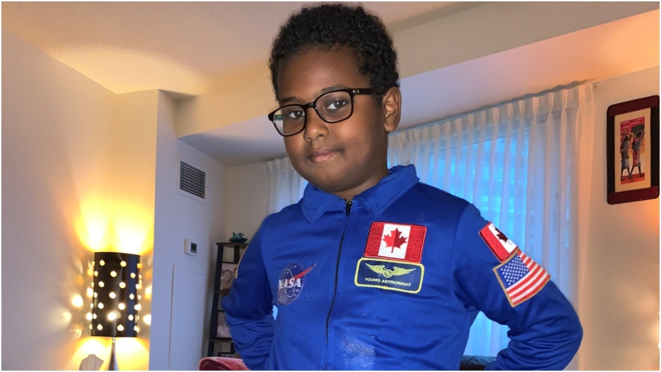 Yaphet Yoseph, 8, has some out-of-this-world aspirations and is getting words of wisdom from Canada's space community. (Source: Hezbawit Lijam)