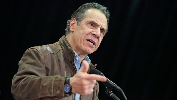 New York Gov. Andrew Cuomo speaks during a press conference before the opening of a mass COVID-19 vaccination site in the Queens borough of New York, Wednesday, Feb. 24, 2021. (AP Photo/Seth Wenig, Pool)