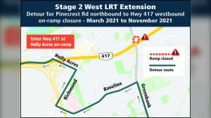 The Pinecrest Road northbound on-ramp to Hwy. 417 westbound will be closed for eight months, starting March 1. (Photo courtesy: City of Ottawa)