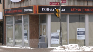 Papered up windows and 'for rent' signs are not getting in the way of Downtown Timmins from realizing its goals. (Lydia Chubak/CTV News Northern Ontario)