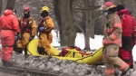 A woman is rescued from the Thames River in London, Ont. on Feb. 28, 2021. (Brent Lale/CTV London)
