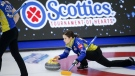 Team Alberta skip Laura Walker warms-up at the Scotties Tournament of Hearts in Calgary, Alta., Saturday, Feb. 27, 2021.THE CANADIAN PRESS/Jeff McIntosh