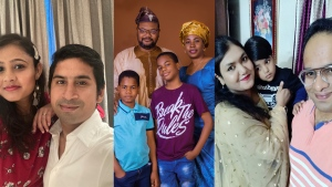 From left to right: Chirag Rathod and his wife, Isaac Bello and his family and Fauzia Karim and her family (Submitted)