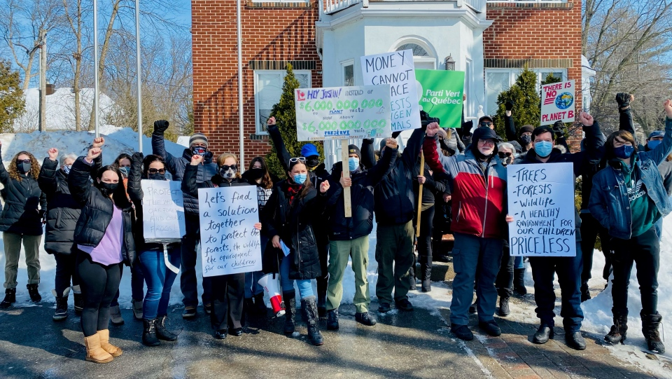 Protesters would like a housing development on Ile-Perrot west of Montreal halted to protect a vulnerable species of frogs located there. SOURCE: Alex Tyrrell