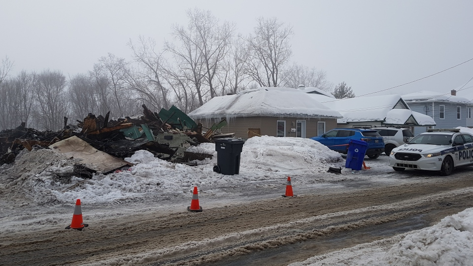Gatineau police say a man was found dead in the rubble of a home on rue Saint-Louis badly damaged by a fire on Saturday. (Mike Mersereau / CTV News Ottawa)