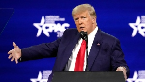 Former U.S. president Donald Trump speaks at the Conservative Political Action Conference (CPAC) Sunday, Feb. 28, 2021, in Orlando, Fla. (AP Photo/John Raoux)