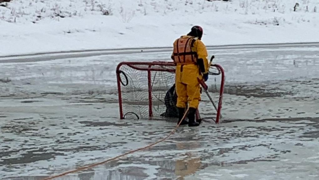 Hockey nets on ice