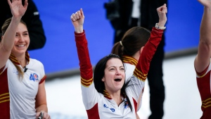 Team Canada skip Kerri Einarson celebrates after defeating Team Ontario in the final at the Scotties Tournament of Hearts in Calgary, Alta., Sunday, Feb. 28, 2021.THE CANADIAN PRESS/Jeff McIntosh