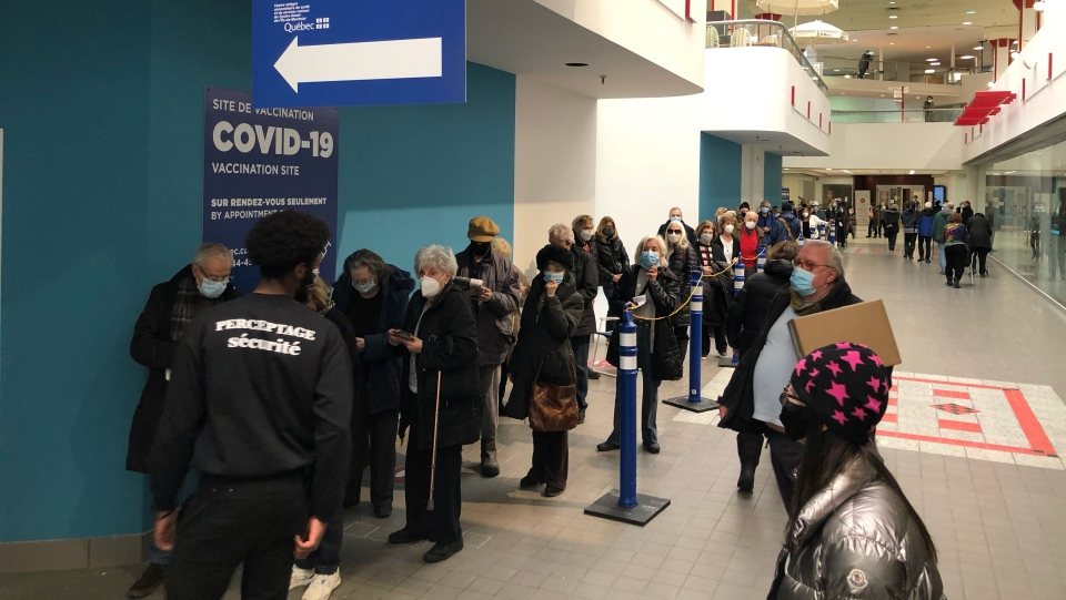 People aged 70 and up wait to receive the coronavirus vaccine at Decarie Square on Monday, March 1, 2021. (Billy Shields, CTV News)