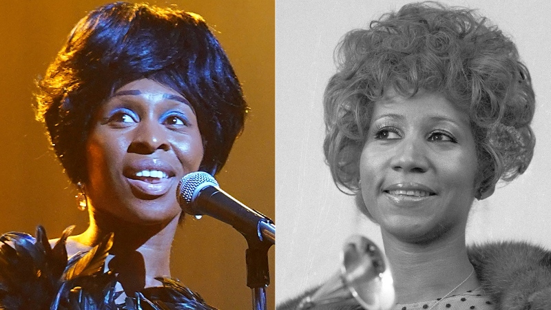 """In this combination photo, actress Cynthia Erivo portrays Aretha Franklin in the National Geographic miniseries """"Genius: Aretha,"""" left, and Aretha Franklin holds her Grammy Award for Best Rhythm and Blue performance of the song """"Bridge Over Troubled Waters,"""" in New York on March 13, 1972. (AP Photo/Dave Pickoff, File)"""
