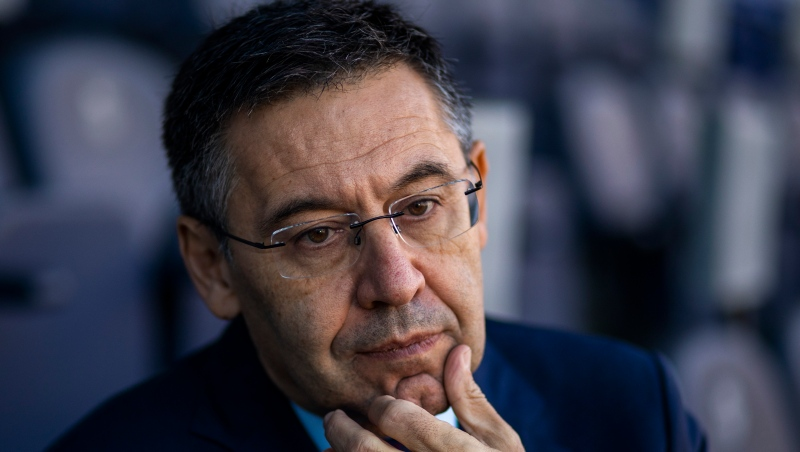 In this Nov. 8, 2019, file photo, President of FC Barcelona Josep Bartomeu pauses during and interview with the Associated Press at the Camp Nou stadium in Barcelona, Spain.