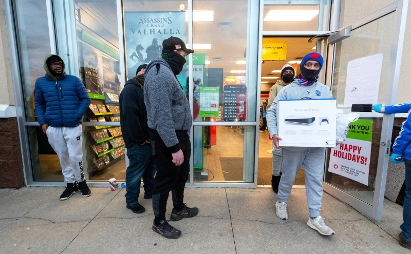Electronics retailers have faced major stock shortages when it comes to the PlayStation 5, pictured here, and Xbox Series consoles as well as the new graphics cards from Nvidia and AMD. (Christopher Dolan/The Times-Tribune via AP)