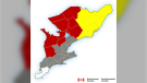 Environment Canada has issued a snow squall warning which could see parts of the region getting up to 25 cm of snow by Tuesday morning.