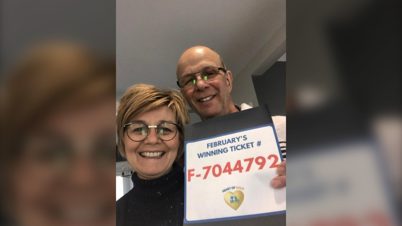 The winner of the Timmins Hospital Foundation's February 50/50 draw, Sylvie Bégin, a hairdresser from Hearst,  was cutting a client's hair when she received the good news. (Supplied)