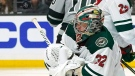 Minnesota Wild goaltender Alex Stalock deflects a shot during the second period of an NHL hockey game against the Los Angeles Kings Saturday, March 7, 2020, in Los Angeles. (AP Photo/Mark J. Terrill)