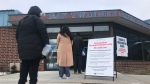 People line up to get their COVID-19 vaccine at Ray Twinney Recreational Complex. (Craig Wadman/CTV News Toronto)