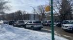 Saskatoon police are pictured at Avenue W on March 1, 2021. (Dan Shingoose/CTV Saskatoon)