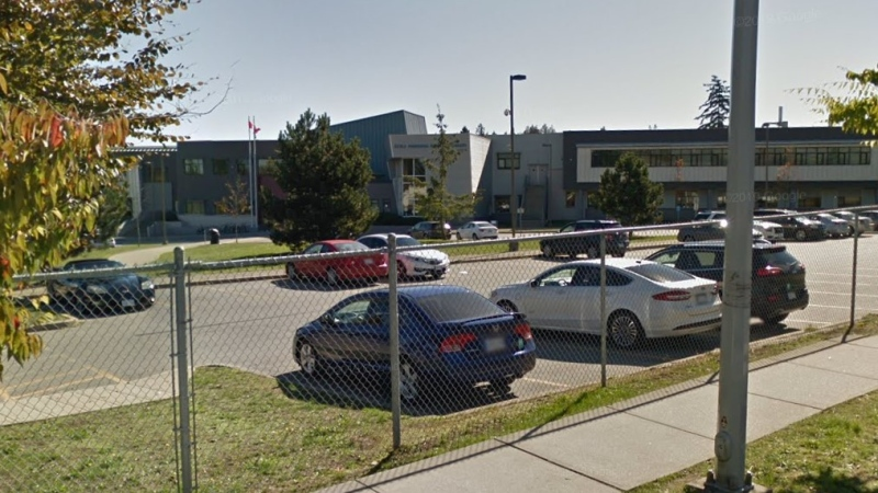 The exterior of Panorama Ridge Secondary School in Surrey, B.C., is seen in an undated Google Maps image.